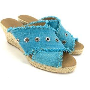 Anthropologie Espadrille Wedge Sandals Blue